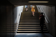summer in the city (jhnmccrmck) Tags: melbourne 3000 victoria fujifilm xt1 classicchrome parliamentstation people stairs xf1855mm iminexplore