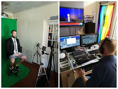 TV Magic! (Toni Kaarttinen) Tags: usa unitedstates florida wpb america lakeworth lw palmbeachcounty man guy beard bear selfie hairy scruff shirt tuie shorts tv television studio greenscreen