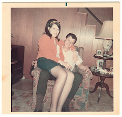 Vintage Snapshot circa 1969 : Donna (age 16) and Earle (age 20) (CHAIN12) Tags: vintage photo snapshot scan scanned man woman guy gal lap lapsitting greaser stockings nylons flip hairdo rvrcrkdsgns1965donna16earle20