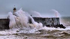 Big Wave (Croydon Clicker) Tags: wave gale storm breaker splash wind rain pier jetty harbour lighthouse sea ocean water sky choppy rough newhaven sussex eastsussex