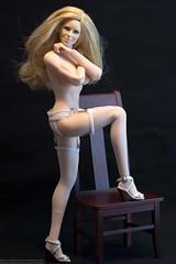 White-on-Black (edwicks_toybox) Tags: 16scale tbleague blonde bra femaleactionfigure fireredrose flirtygirl garterbelt highheels panty phicen seamlessbody thong