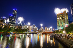 Melbourne New Year's fireowrks 2019 [Explored] (Peter ZZZ) Tags: 2019 buildings city color colour fireworks longexposure melbourne night reflections river skyscraper southbank yarrariver