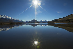Crack in the Reflection (Matt Champlin) Tags: life newzealand reflection calm calming tranquil peace peaceful nature outdoors mountains snow winter sundayfunday sunday lake alps travel exotic hike hiking morning glenorchy canon 2019