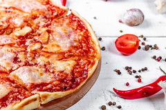 Baked pizza with spices on a white wooden table (wuestenigel) Tags: nutrient lay composition garlic sauce recipe pepper table eat background dinner delicious pizza homemade cooked meal cheese organic vegetable flat tomato wooden grey traditional view italian chili bacon meat tasty slice food nutrition healthy ingredient cherry cuisine top space black gourmet fresh spices white appetizing