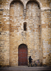 Saintes-maries-de-la-mer church (JLM62380) Tags: camargue france église church vélo bicycle homme personne saintesmariesdelamer