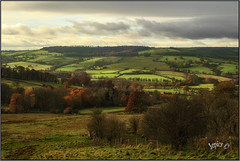 Across The Valley. (Picture post.) Tags: landscape nature green hills fields trees clouds shadows autumn paysage arbre