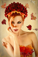 Leaves Are Falling (Spoken in Red) Tags: fallleaves autumn autumnleaves fallingleaves mapleleaves leafcrown autumnfairy selfportrait spokeninred redhair paleskin fineartportraitcelebrationoffall curl greeneyes conceptualportrait