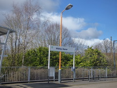 Widney Manor Station - orange lamppost and sign (ell brown) Tags: solihull westmidlands england unitedkingdom greatbritain widneymanor tree trees widneymanorstation widneylane chilternrailways westmidlandstrains westmidlandsrailway chilternmainline widneymanorstationcarpark carpark class172 train stpatricksday networkwestmidlands sign lamppost