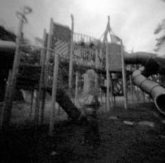 Morose (play)land (Dani Irwan) Tags: zeroimage2000 blackandwhite mediumformat ilfordhp5 ilfordid11 pinhole malaysia lofi playground grain canoncanoscan8800f noiretblanc blancoynegro 120 film analog surreal slide