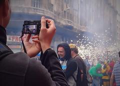 Traditional festival of Barcelona. Hands and camera. (habanera19) Tags: comercial chispas fuego primavera urbana people festivalofbarcelona traditional cataluña españa barcelona hands camera barc víalayetana