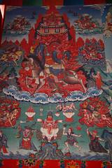 127. Interior, Thangka, Lihi Gompa, Lihi, Gorkha District, Manaslu Trek, Nepal (Jay Ramji's Travels) Tags: nepal lihi gorkhadistrict manaslutrek himalayas gompa buddhism placeofworship religious painting interior thangka