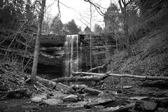Bridal Veil Falls (5centsphotos.com) Tags: 5dmkiv arkansas bridalveilfalls canon hebersprings ef24105mmf4l waterfalls blackandwhite monotone