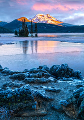 Frosty Mountain Sunrise (TierraCosmos) Tags: bestshotoftheday sparkslake lake mountain cascades southsister threesisters rocks sunrise morning cold autumn ice landscape deschutescounty oregon