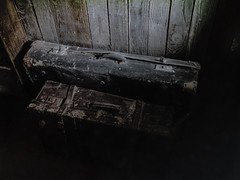 They Never Left After All (Steve Taylor (Photography)) Tags: suitcases antique decaying old cases black brown lowkey eerie wood newzealand nz southisland canterbury christchurch worn battered