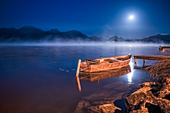 Just Peaceful (campmusa) Tags: lake fussen germany nightshots mist bluesky moonlight boat pier nighttime europe