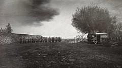 Delivery (Loegan Magic) Tags: secondlife vintage blackandwhite monochrome truck landscape trees grass sky