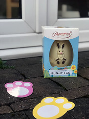 Easter Egg hunt stock photo (bmstores) Tags: easter egg hunt rabbit rabbits fun activities kids crafts feet children kid grass outside outdoor activity prize win chocolate sign colour glass magnifying