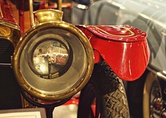No-Skid Rescue (~ Liberty Images) Tags: packardmuseum ohio classiccar firetruck firepackard libertyimages automobile red gold brass headlight headlamp