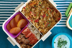 Bento 673 (Sandwood.) Tags: bento lunch lunchbox cooking food meal dish kebab turkish vegetables pilaf rice