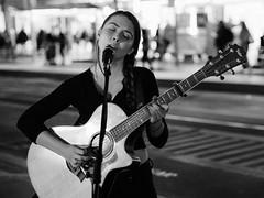 Taylor (McLovin 2.0) Tags: candid portrait street streetphotography urban city night lights bokeh guitar busker singer sing melbourne olympus em1 45mm