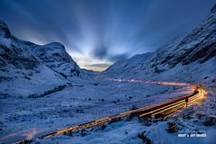 'Night Passage - Glencoe' (macdad1948) Tags: winter highlands glencoe scotland snow pass glencoegorge threesisters ice night longexposure traffic bluehour highwaysscotland