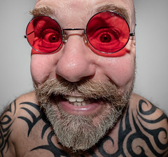 Fisheyed selfie. . . (CWhatPhotos) Tags: cwhatphotos digital camera photographs photograph pics pictures pic picture image images foto fotos photography artistic that have which with contain olympus omd em5 mkll fisheye fish eye 8mm pro lens portrait man male smile eyes wide angle beard goatee tattoos tattooed tattoo ink inked tribal bald baldy slap head