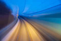 Here We Go (sdupimages) Tags: chemindefer voieferrée railroad vitesse heurebleue bluehour abstraction abstrait abstract eurostar highspeedtrain ln3 lgv highspeedline filé blur longexposure pauselongue train tgv ouigo speed