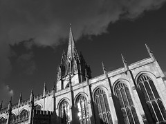 St Mary University Church Oxford (cycle.nut66) Tags: blackandwhite monochrome grayscale olympus epl1 evolt micro four thirds mzuiko oxford clear bright winter light sky university church tower spire windows gothic archetecture stone old building