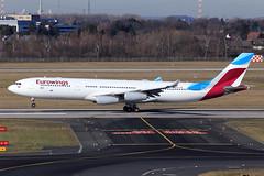 Eurowings  Airbus A340-313X OO-SCW (widebodies) Tags: düsseldorf dus eddl widebody widebodies plane aircraft flughafen airport flugzeug flugzeugbilder eurowings airbus a340313x ooscw