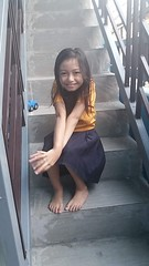 me at the stairs (ghostgirl_Annver) Tags: asia asian girl annver teen preteen child kid daughter sister family stairs portrait yellow