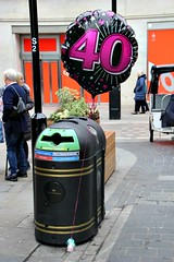 Forty... and dumped (Peter Denton) Tags: balloon 40thbirthday celebration recyclebin rubbishbin street london capitalcity england uk ©peterdenton canoneos100d