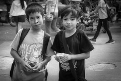 Schoolfriends (Beegee49) Tags: street children boys people friends portrait smiling apprehensive blackandwhite monochrome bw sony a6000 silay city philippines asia