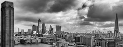 London pano (marksmith0701) Tags: london black white tate modern shard city cityscape bnw panoramic cheesegrater mobilephone walkietalkie moody clouds tower towers blocks thames bridge building cranes