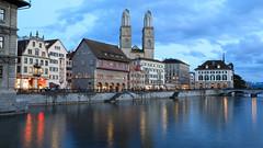 (A Sutanto) Tags: zurich river blue hour switzerland city night dusk twilight old town