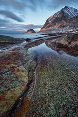 haukland beach - portrait format (cfaobam) Tags: beach norway norwegen fjord water wasser stein stone landscape landschaft lofoten europe europa nature national geographic cfaobam langzeitbelichtung long exposure color travel photography magic light sunrise sonnenaufgang deep north haukland cfaobamhome globetrotter outdoor meer