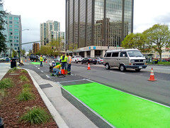 layin' down the green! (citymaus) Tags: lakemerritt crews public works contractor painting striping work green paint kermit bright new bikelane bikelanes cycleinfrastructure oakland oakdot dashed