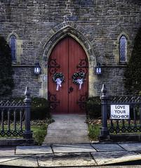 Church Door (jsleighton) Tags: church door red gate iron stone walkway sidewalk sign