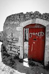 For sale (tas@phot) Tags: red entrance door gate black white nikon nikkor 1835 afd d610 crete summer abandoned