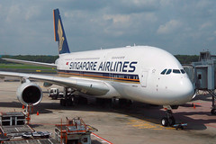 9V-SKB, Singapore Changi, November 16th 2008 (Southsea_Matt) Tags: 9vskb singaporeairlines staralliance airbus a380841 singapore changi sin wsss canon 30d autumn november 2008 aviation aircraft airplane transport