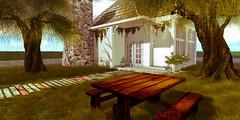 Countryside Picnic (AlyceAdrift) Tags: country shabby secondlife second life decor landscaping trees grass woods simple afternoon southern sunlight shadow picnic south living southernliving countryliving backroads dirtroad rural beedesigns beedesignssl bee designs rainbow chimney hpmd white sunshine sun wood blog blogger secondlifeblogger landscape landscapeblogger decoration decorlandscaping mainland sl colorful happymood