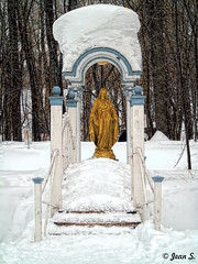 Come to me (Jean S..) Tags: statue bridge snow ice cold stairs park trees outdoors day gold golden