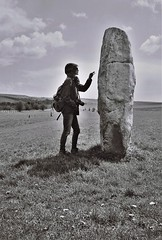 A Touch of the Past, Avebury, April 2016 (Mano Green) Tags: standing stone touch rock ancient circle history avebury wiltshire england 2016 april spring canon canonet 28 ilford xp2 super 400 35mm film