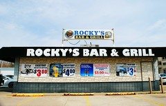 Rocky's Bar & Grill - Macomb, Illinois (Cragin Spring) Tags: rockysbargrill rockys bar grill illinois il midwest sign building unitedstates usa unitedstatesofamerica macomb macombil macombillinois restaurant