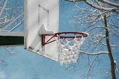 A white day (jimiliop) Tags: basket basketball frozen ice snow net winter sunny white trees outdoor
