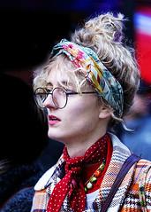 Portrait (D80_527049) (Itzick) Tags: denmark copenhagen candid color colorportrait headgear glasess blonde youngwoman face facialexpression lipstick streetphotography scarf d800 itzick