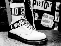 No (Sean Batten) Tags: london england unitedkingdom gb eastlondon shoreditch bricklane blackandwhite bw boot footwear city urban no pistols fuji x100f fujifilm