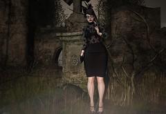 R.I.P 💘 (ღ Sɑrɑɑh Drɑgoone ღ) Tags: rip black glasses girl sexy woman bentoav cemetery widow blackwidow shop pic photo secondlife game sl maitreya catwa clutch