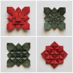 Hydrangea variations - Shuzo Fujimoto (pierreyvesgallard) Tags: origami shuzo fujimoto hydrangea clover high density tessellation fractal geometry symetry design paper folding papercraft