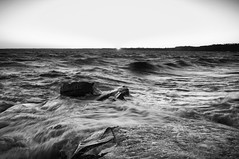 Icy waves (Dad from Hell) Tags: blackwhite canada canadarocks gary garypaakkonen greatlakes lakeerie outdoor paakkonen photography bw d300s goldenhour ice landscape monochrome nikon ontario outdoorphotography rocks sigma spring sunset water waves discover iamcanadian