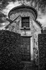 """black & white study of a charming little detatched tower / doocot at Château de Boutemont, Ouilly-le-Vicomte, Calvados, Normandy, France (grumpybaldprof) Tags: """"châteaudeboutemont"""" ouillylevicomte calvados normandy france gardens castle chateau charming impressive picturesque beautiful """"10thcentury"""" """"boutemonthughesin1180"""" """"boutemontguillaume1195"""" ancient medieval rennaisance """"touquesvalley"""" jardinremarquable park """"motteandbailey"""" """"monumenthistorique"""" renaissance peaceful mood atmospheric calm bw blackwhite """"blackwhite"""" """"blackandwhite"""" noireetblanc monochrome """"fineart"""" ethereal striking artistic interpretation impressionist stylistic style contrast shadow bright dark black white illuminated """"wideangle"""" ultrawide"""